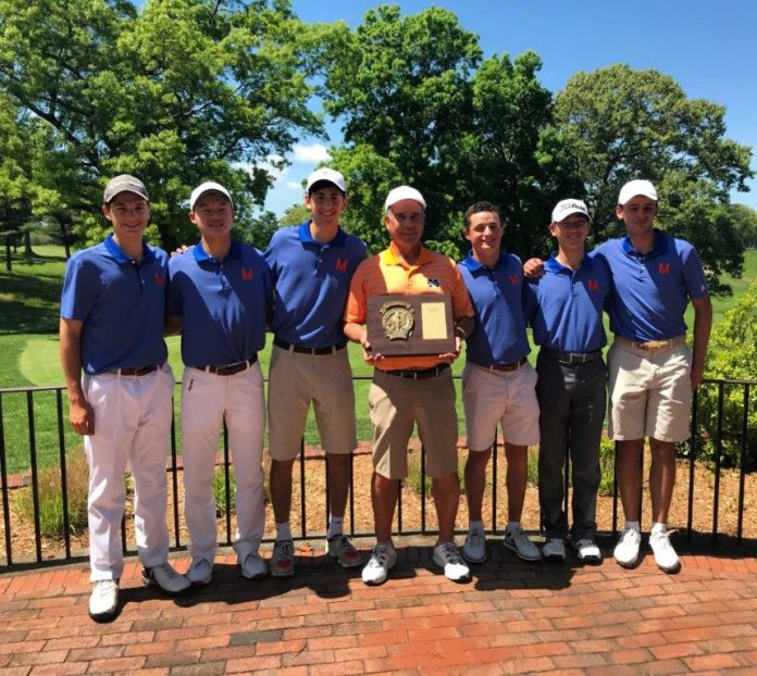 Manhasset team Armen Haratunian, Adam Xiao, Alex Kassabian, Chris Thompson, Kendrick Tak and Luke Bakshandeh pose with Coach Collyer, who is holding a plaque commending Manhasset's victory. (Photo courtesy of Jim Amen)