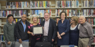 The library board honored Francine Ferrante Krupski, a former trustee, for her years of service on the Great Neck Library Board of Trustees. (Photo by Janelle Clausen)