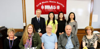 Standing, from left: Tri¬-M Advisor Joseph Rutkowski with Chapter 2605 Co-presidents Keva Li, Elana Xu, and Isabel Yang. Seated, from left: Honorary Lifetime Membership recipients Amy Kempton and Dr. Janine Robinson, Great Neck Public Schools music educators; Neil Saggerson, retired performing and fine arts department head; Bernard Kaplan, retired principal of North High; and Karen Lee, parent booster. (Photo courtesy of Great Neck Public Schools)