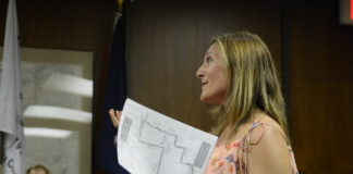 Jivanna Bennaiem, who has been pushing for greater pedestrian safety since her husband's death in 2016, pitches the walk to Great Neck Plaza trustees. She said Kensington officials approved the walk, Nassau County Police will assist and that organizers will be reaching out to the Village of Great Neck next. (Photo by Janelle Clausen)