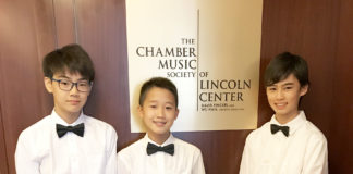 Three musicians from Great Neck South Middle School performed at the Lincoln Center. (Photo courtesy of the Great Neck Public Schools)