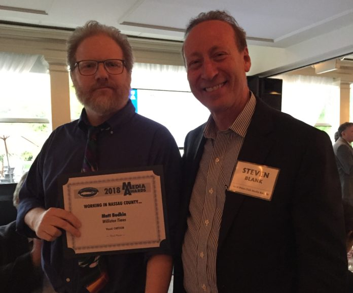 Editor and publisher Steve Blank poses for a photo with Matt Bodkin, who won third place for best editorial cartoon. (Photo courtesy of Steve Blank)