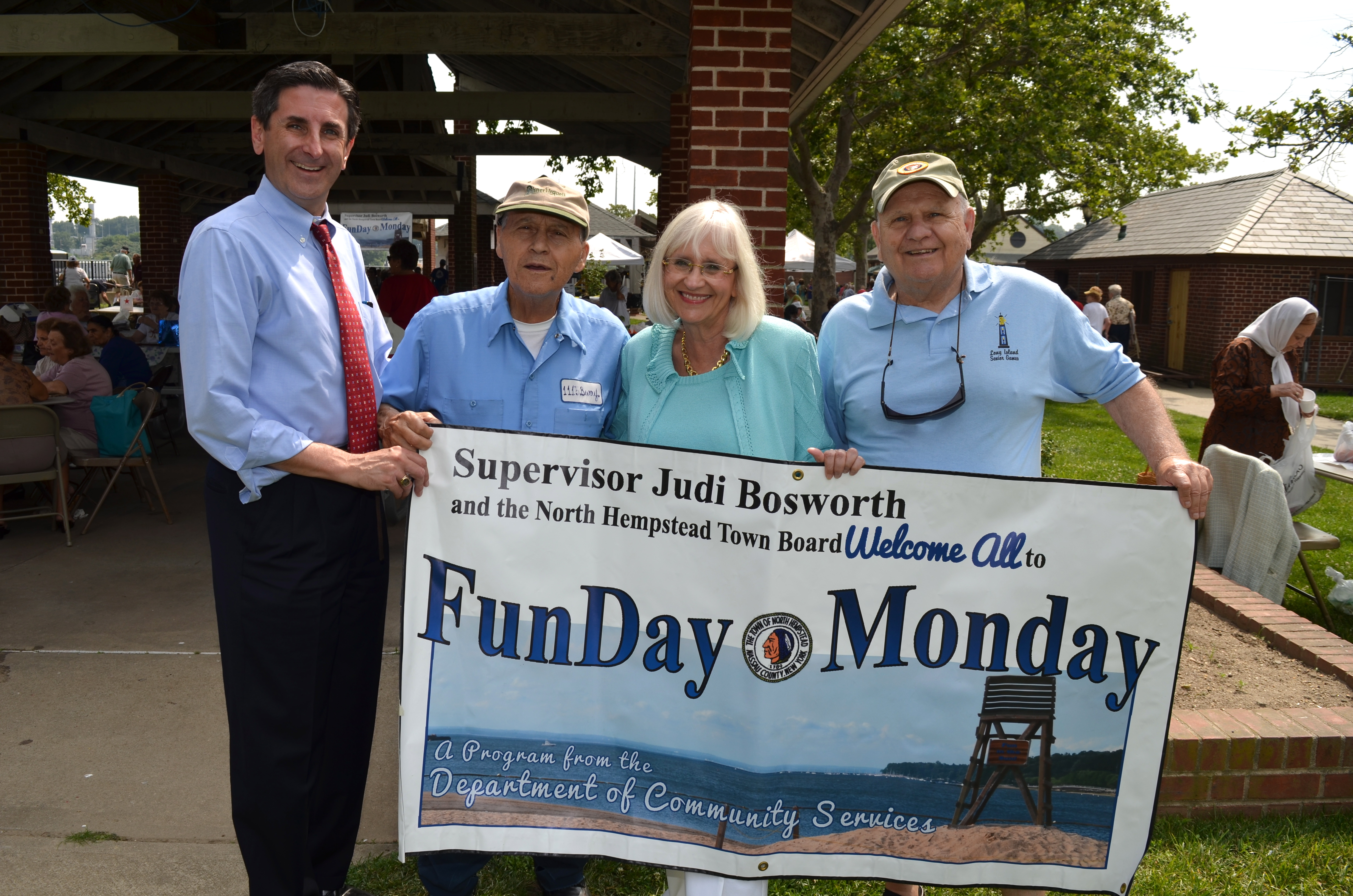 d3aa6a0616c2 Supervisor Bosworth and Town Clerk Wayne Wink with two seniors at a FunDay  Monday last year. (Courtesy of Carole Trottere)