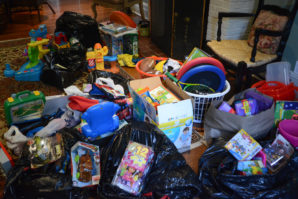 Hadassah collected toys, notebooks and other goods to send to Cayuga Center so they can reach migrant children. (Photo by Janelle Clausen)