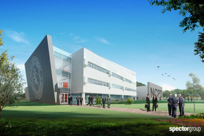 Nassau Community College could become home to a $54 million police academy for the Nassau County Police Department. (Photo rendering by Spector Group)