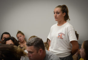 Kelly Trotta asked board members and administrators why they aren't doing what's in the best interest of the girls lacrosse team. (Photo by Janelle Clausen)
