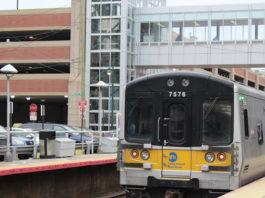 A train pulls into the Mineola Long Island Rail Road station. (Photo by Rebecca Klar)