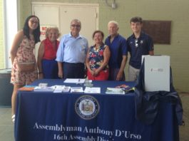 "Avery Park, an Assemblyman D'Urso intern from Great Neck, Gloria P. Altman, Assemblyman Anthony D'Urso, Barbara Shaw, Fred Shaw, and Patrick Boyle, an Assemblyman D'Urso intern from Manhasset promote ""skin-telligence"" at Parkwood Pool. (Photo courtesy of Assemblyman Anthony D'Urso's office)"