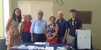 """Avery Park, an Assemblyman D'Urso intern from Great Neck, Gloria P. Altman, Assemblyman Anthony D'Urso, Barbara Shaw, Fred Shaw, and Patrick Boyle, an Assemblyman D'Urso intern from Manhasset promote """"skin-telligence"""" at Parkwood Pool. (Photo courtesy of Assemblyman Anthony D'Urso's office)"""