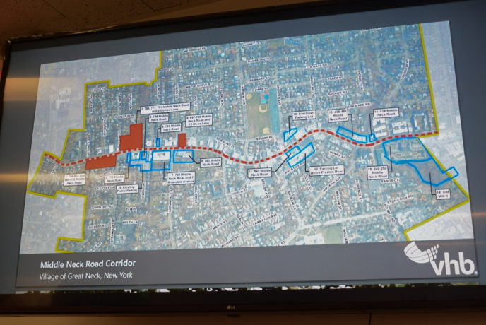 The areas highlighted in red were focused on during the meeting, while blue were also considered places of interest. (Photo by Janelle Clausen)