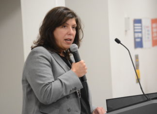 Nassau County DA Madeline Singas speaks to audience members at the gun violence prevention forum. (Photo by Janelle Clausen)