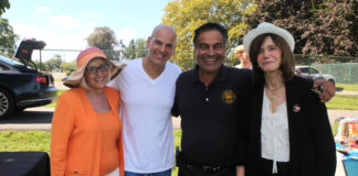 Supervisor Judi Bosworth, Ronny Ben Josef, Saddle Rock Mayor Dan Levy and Council Member Lee Seeman at the annual Family Fun Day. (Photo courtesy of the Town of North Hempstead)