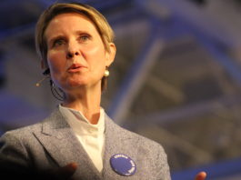 Cynthia Nixon, who is challenging Gov. Andrew Cuomo for the Democratic nomination for governor, blasted a mailer that sought to link her with anti-Semitism. (Photo by Rebecca Klar)