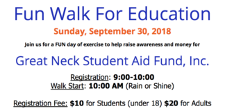 Great Neck Student Aid Fund, Inc. is hosting its first annual Fun Walk for Education on Sunday, Sept. 30. (Photo courtesy of Great Neck Student Aid Fund)