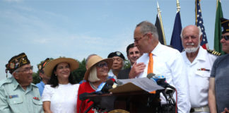 Supervisor Bosworth, U.S. Sen. Charles Schumer, the Town Board and North Hempstead veterans at a press conference this summer calling for federal funding for a Community-Based Outpatient Clinic in North Hempstead. (Photo courtesy of the Town of North Hempstead)