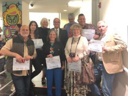 Assemblyman Anthony D'Urso honored a group of artists whose work are on display at the Gold Coast Arts Center, including George McClintock, Wiliam Riera, Orestes Gonzalez, Karen Rubin, Audrey Gottlieb and Neil Tandy. Verónica Cárdenas and Deborah Feingold, not pictured, were also honored.(Photo courtesy of Assemblyman Anthony D'Urso's office)