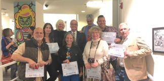 Assemblyman Anthony D'Urso honored a group of artists whose work are on display at the Gold Coast Arts Center, including George McClintock, Wiliam Riera, Orestes Gonzalez, Karen Rubin, Audrey Gottlieb and Neil Tandy. Verónica Cárdenas and Deborah Feingold, not pictured, were also honored. (Photo courtesy of Assemblyman Anthony D'Urso's office)