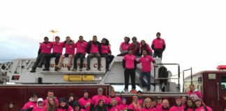 Several members of the Vigilant Fire Company went to Jones Beach to show support for Kira Warren, who recently defeated breast cancer. (Photo courtesy of Josh Charry)