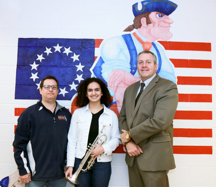 Sophia Wotman is congratulated by South High School Performing Arts Department Head Michael Schwartz and Principal Christopher Gitz. (Photo courtesy of the Great Neck Public Schools)