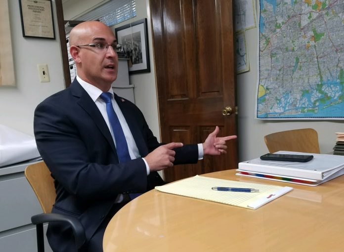 Ameer Benno, a civil rights attorney from Bellmore, speaks to Blank Slate Media about his congressional bit to unseat Rep. Kathleen Rice. (Photo by Janelle Clausen)