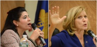 Anna Kaplan and Elaine Phillips defended their respective records on Wednesday night, tackling issues like guns, taxes and one party control. (Photos by Janelle Clausen)