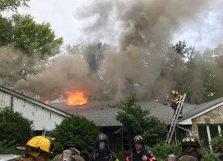 Firefighters battle a blaze at 920 Middle Neck Road. (Photo courtesy of Steven Schwartz)