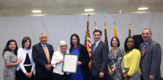 Saddle Rock Principal Luciana Bradley receives a proclamation from Town Supervisor Judi Bosworth and the Town Council at the Town of North Hempstead Hispanic Heritage Celebration on Oct. 10. (Photo courtesy of the Town of North Hempstead)