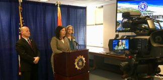 Nassau County DA Madeline Singas speaks about the decrease in crime in Nassau County since 2013. (Photo courtesy of the Nassau County District Attorney's Office)