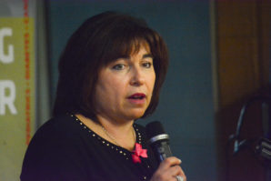 Dr. Wendy Fried-Oginski discusses breast cancer screening, diagnosis and genetic evaluation. (Photo by Janelle Clausen)