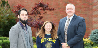 South High junior Sara Jhong is congratulated by her AP English Language and Composition teacher Michael Moran, and South High Principal Christopher Gitz. (Photo courtesy of the Great Neck Public Schools)