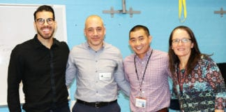 North High school psychologist Dr. Anton Berzins, guest speaker and sports psychologist Dr. Issac Zur, school psychologist Dr. David Cheng, and school social worker Oana Scholl. (Photo courtesy of the Great Neck Public Schools)