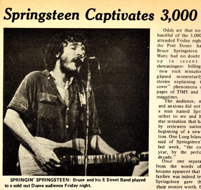 The Dec. 17, 1975 review in LIU Post's 'The Pioneer' for Bruce Springsteen's performance. (Image courtesy of LIU Post Special Collections Department)
