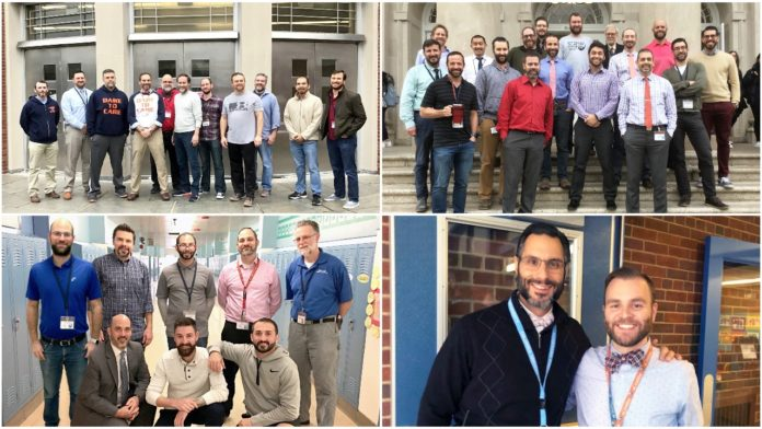 Staff at North Middle School, North High School, JFK Elementary School and E.M. Baker School grew beards to help raise money and awareness about men's health issues. (Photo courtesy of the Great Neck Public Schools)