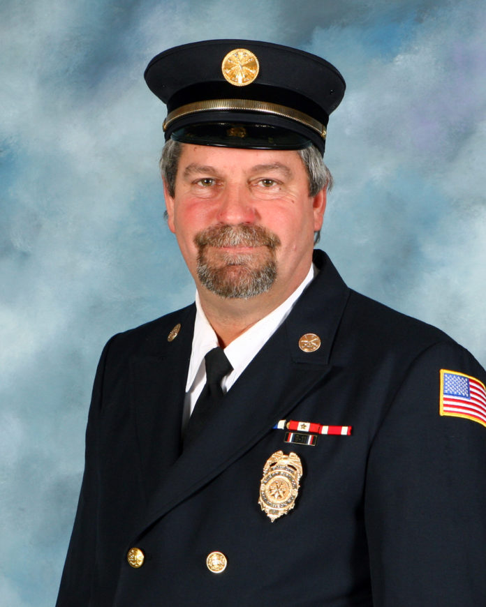 Raymond Plakstis Jr. served two terms as the chief of the Alert Fire Company in Great Neck, where he served for 33 years. (Photo courtesy of the Alert Fire Company)