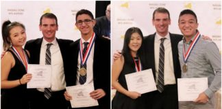 Christina Li and Maor Amar of North High School and Gloria Moon and Ryan Concha of South High are congratulated by Charles Rizzuto, the president of Nassau Zone. (Photos by Dorothy Niemira and Ryan Fisk)