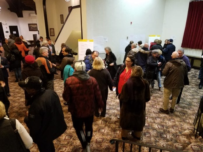 Dozens of residents attended a meeting about the Great Neck Park District's new master plan on Thursday night. (Photo by Janelle Clausen)