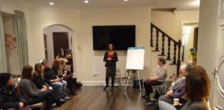 Kira Nurieli hosts an interactive workshop focusing on values. (Photo courtesy of the Silverstein Hebrew Academy)