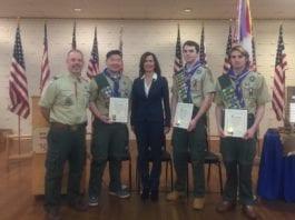 Troop 201 Scoutmaster Mike Russo, Jordan Chin, Legislator Ellen Birnbaum, Nicolas Ryan and Michael Marcy. (Photo courtesy of Legislator Ellen Birnbaum's office)