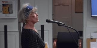 Elizabeth Allen was often an outspoken presence at the Village of Great Neck's board meetings. (Video still from the Village of Great Neck Facebook page)