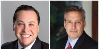 Jon Kaiman, right, will be succeeding Michael Glickman as president of the Gold Coast Arts Center's executive board. (Photos from LinkedIn)