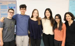 Roslyn High School's research students named Scholars by the Regeneron Science Talent Search are Justin Schiavo, Brandon Lee, Lindsey Rust, Adrian Ke and Mayeesa Rahman. They are pictured here with Roslyn's research coordinator Allyson Weseley. (Photo courtesy of the Roslyn Public Schools)