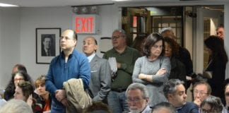 Great Neck Village Hall was overflowing on Tuesday night, as residents sought to hear VHB's presentation and offer feedback on their recommendations for Middle Neck Road and East Shore Road. (Photo by Janelle Clausen)