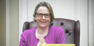 """Veronica Lurvey said that if you told her six months ago she'd be sitting in Anna Kaplan's old Town Council seat, she'd be very """"surprised."""" (Photo by Janelle Clausen)"""