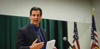 David Zewatson discusses the school district's recreational programs. (Photo by Janelle Clausen)