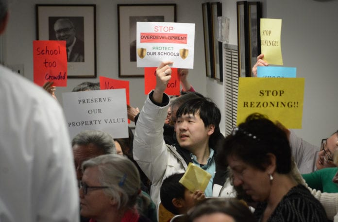 Residents raised alarms about the possible impact of VHB's proposed zoning changes could have on schools and the community. (Photo by Janelle Clausen)