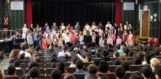 Students performed traditional folk songs from Ghana, Israel, Puerto Rico, Korea, and the United States as part of International Week. (Photo courtesy of the Great Neck Public Schools)