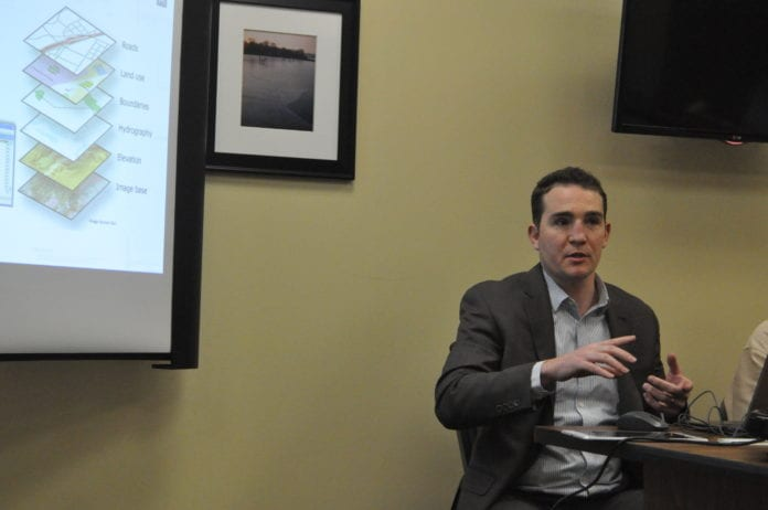 Christopher Kobos of H2M Architects and Engineers discusses Geographic Information System (GIS) mapping at the Plandome Manor village board meeting on Feb. 19. (Photo by Samuel Glasser)