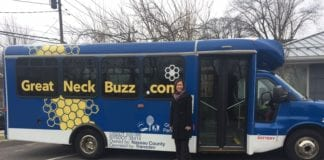 Legislator Ellen Birnbaum recently heralded the arrival of the Great Neck Buzz shuttle-share service. (Photo courtesy of Legislator Ellen Birnbaum's office)