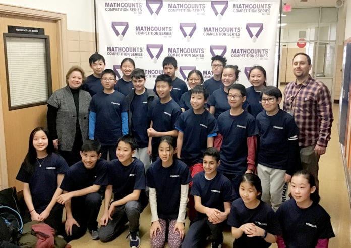 Math teams from North Middle and South Middle at the MATHCOUNTS competition at North Middle School on Feb. 2. (Photo courtesy of the Great Neck Public Schools)