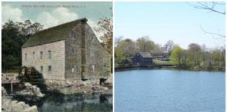 A historical postcard and a photo of the Saddle Rock Grist Mill from afar. (Photos courtesy of Alice Kasten)